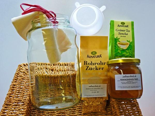 Ginseng Kombucha Drink Komplettpaket mit 2,5 Liter Glas