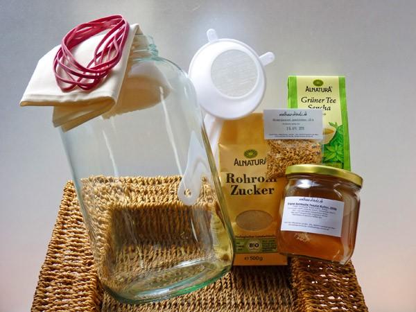 Ginseng Kombucha Drink Komplettpaket Deluxe mit 3,4 Liter Glas